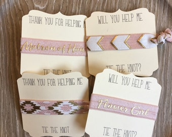 Blush Gold-Hair Tie-Will You Be My Bridesmaid-Thank You Gift-Bridal Party- Wedding-Elastic Hair Ties-Maid of Honor-Flower Girl-Bride Tribe