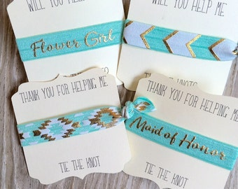Aqua Gold-Hair Tie-Will You Be My Bridesmaid-Thank You Gift-Bridal Party- Wedding-Elastic Hair Ties-Maid of Honor-Flower Girl-Bride Tribe