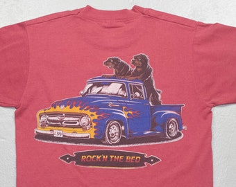 777be6b45fd vintage rock n the bed t-shirt - rottweiler dogs - rottweilers - lowrider  truck - flames - screen stars shirt - 90s