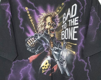 bad to the bone all over print harley davidson shirt - vintage - blackfoot idaho
