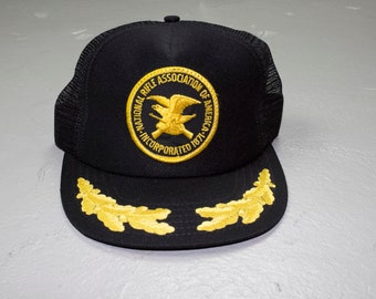 876d544db1ffd deadstock vintage 80s official NRA trucker hat - embroidered patch logo -  guns - national rifle association