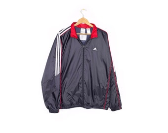 2af68b6287703 ADIDAS sample jacket - deadstock - grey + red + white stripes - lightly  insulated - windbreaker - athletic - mens large