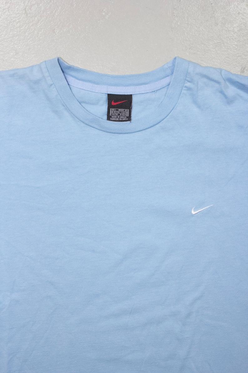 ab4b85a220740 nike baby blue t-shrit - embroidered swoosh logo shirt - mens L
