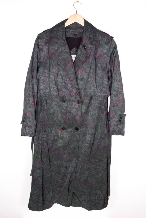 Vintage Floral Print Trench Coat   Metallic Iridescent by Etsy