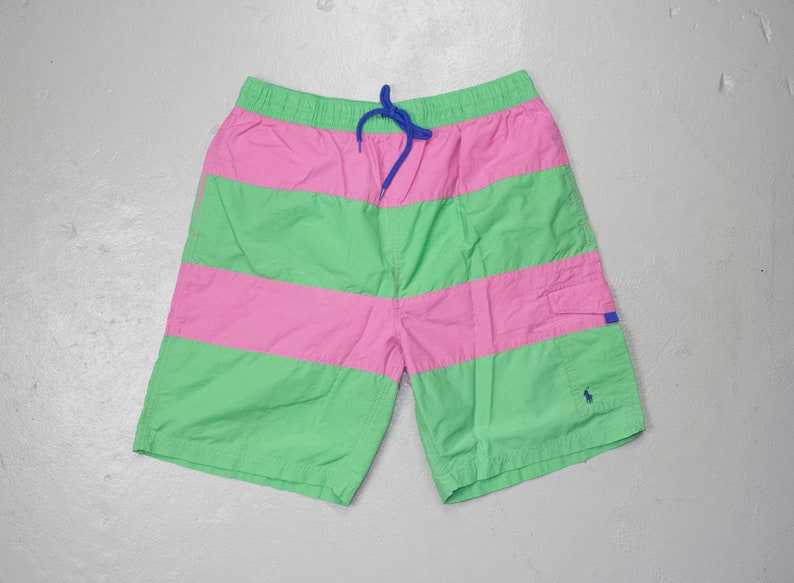 88ab31acad Ralph lauren polo color block swim shorts pink and green | Etsy