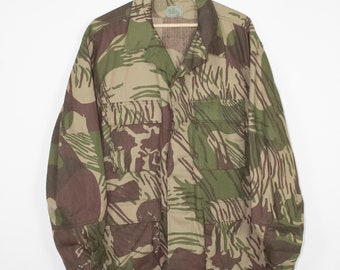 vintage camo coat - lightweight army jacket - unique camouflage - large - regular