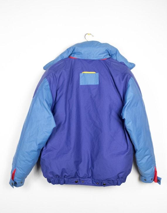 Vintage 80er Jahre Pulver blau Puffer Daunenjacke Bettbezug Stil Unten Feder gepolstert super warme Oversize Mantel Jacke Vintage Puffer Kapuzenjacke