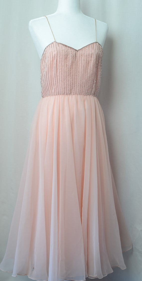 Vintage 1960's Prom Dress Beaded and Beautiful