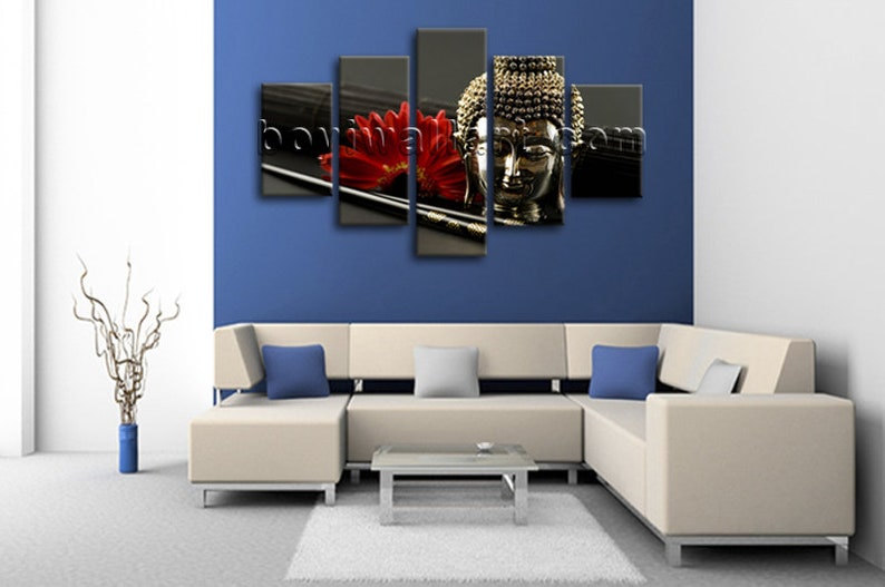 Large Canvas Wall Art Feng Shui Zen Contemporary Buddha Head Home Decor Giclee Print Dining Room Space Shuttle