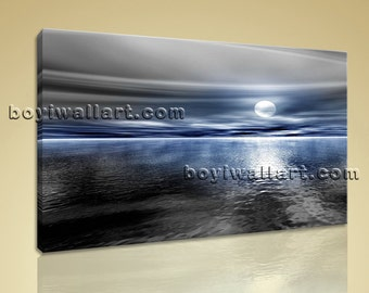 Large Seascape Canvas Art Contemporary Beach Wall Decor Bedroom One Panel Print, Large Beach Wall Art, Bedroom,