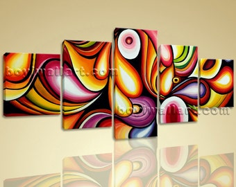 Large Colorful Wall Art Living Room Decoration Ideas Modern Abstract Painting, Large Abstract Wall Art, Living Room, Persian Plum