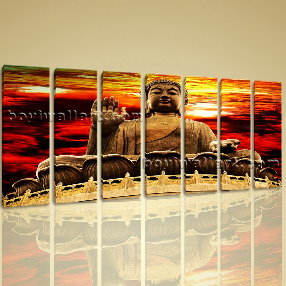 Large Abstract Feng Shui Zen Wall Art Print On Canvas Buddha