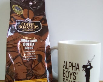 Coffee/Mug Set - Jamaican Ground Coffee Blend by Coffee Roasters, and an Authentic Alpha Branded Coffee Mug.