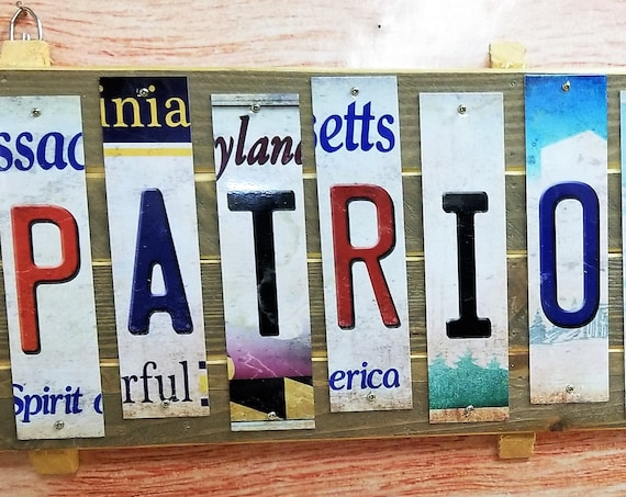 Patriots #1 Cut License Plate Strip Sign