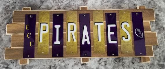 ECU Pirates Cut License Plate Strip Sign