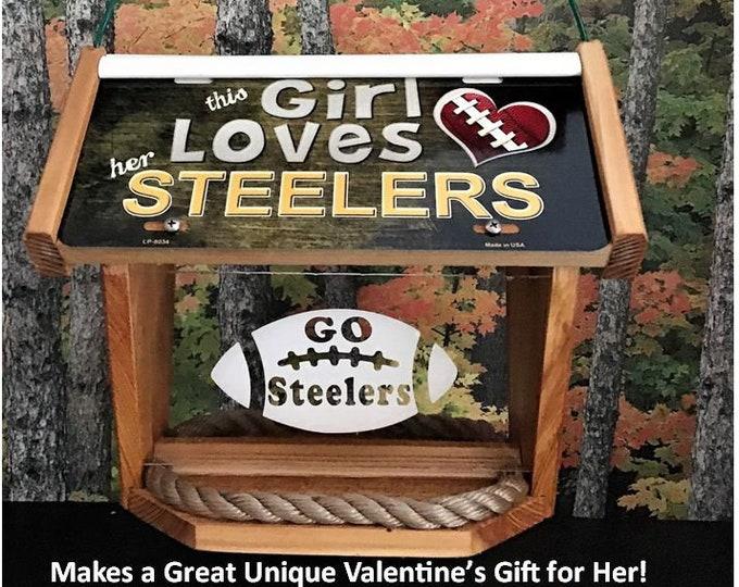 Girl Loves Pittsburgh Steelers Deluxe Cedar Two Sided Bird Feeder
