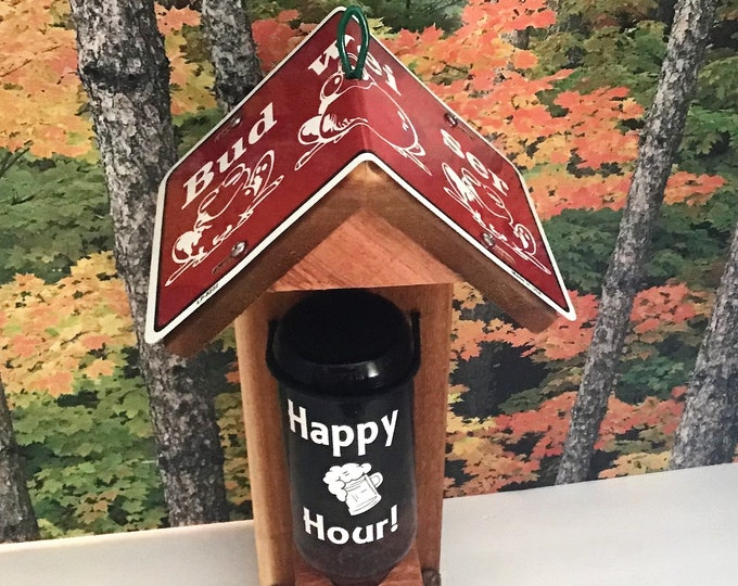 Beer Bottle Cedar Bird Feeder