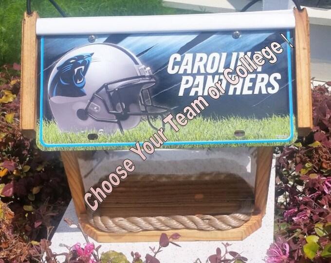 Custom two-sided cedar sport bird feeder (choose your team or college)