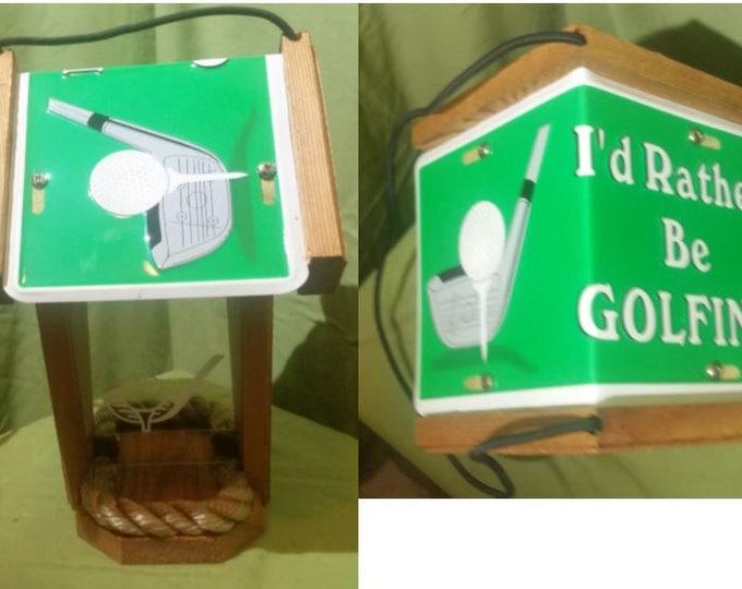 Golf two sided cedar bird feeder (I Rather Be Golfing)