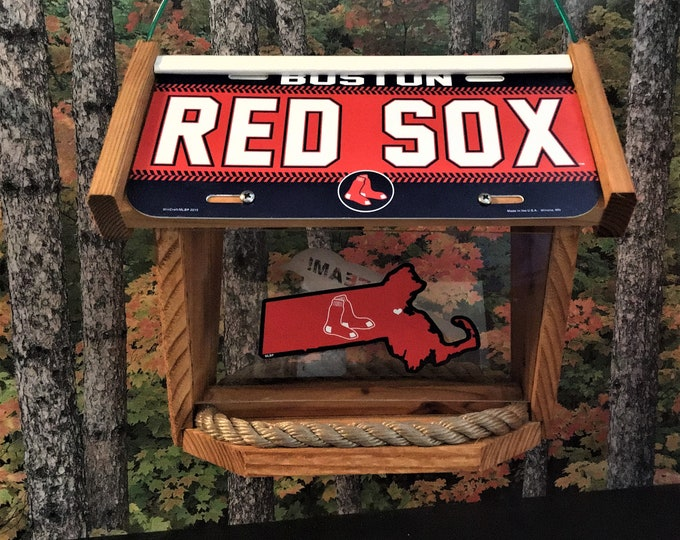 Boston Red Sox Deluxe 2 Cedar Two Sided Bird Feeder