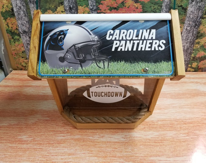 Carolina Panthers large two sided cedar bird feeder (request your team)