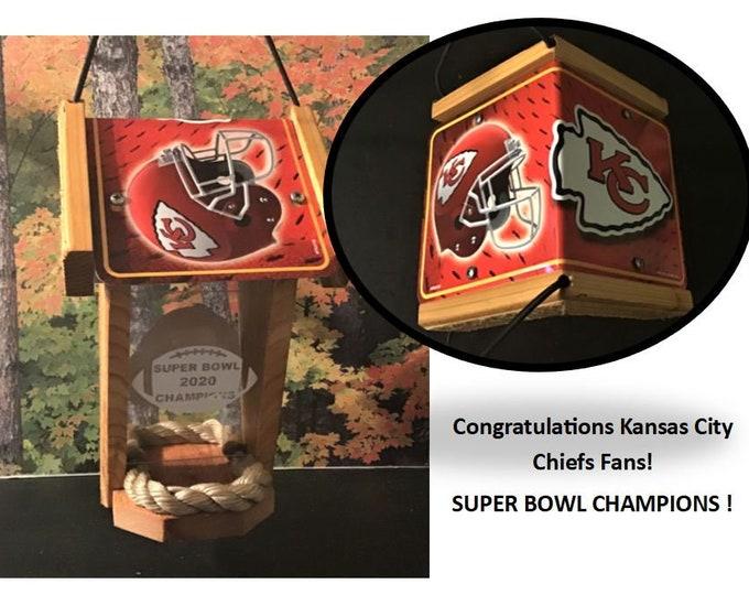 Kansas City Chiefs Super Bowl Champions Two-Sided Cedar Bird Feeder