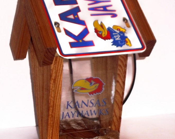 Kansas Jayhawks Two-Sided Cedar Bird Feeder