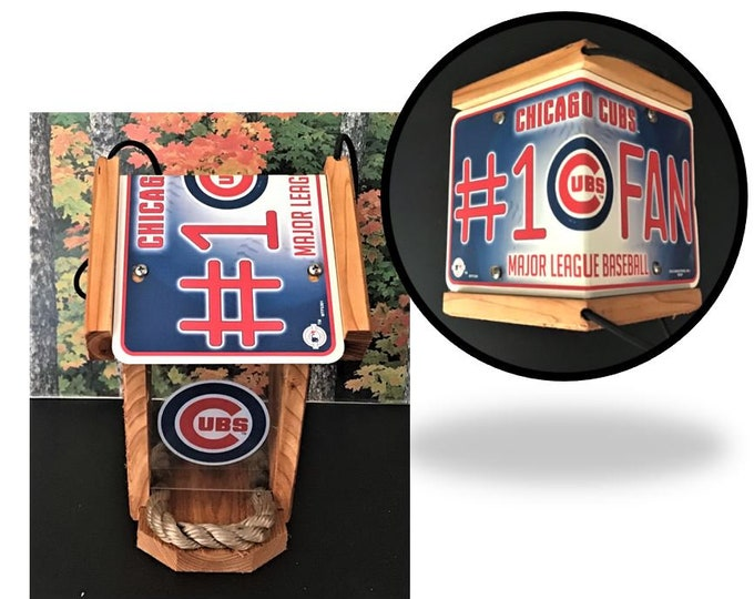 Chicago Cubs #1 FanTwo-Sided Cedar Bird Feeder