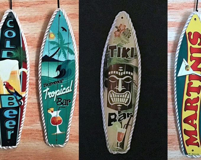 Beer, Bar, Tiki Bar & Martinis Surf Board Signs