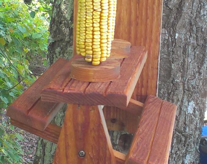 Squirrel Feeder Cedar Picnic Table with Dual Corn Holders