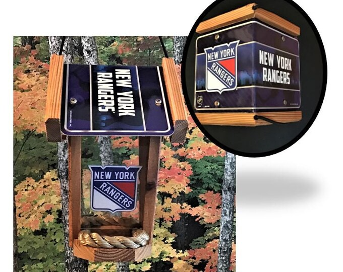 NY Rangers Two-Sided Cedar Bird Feeder