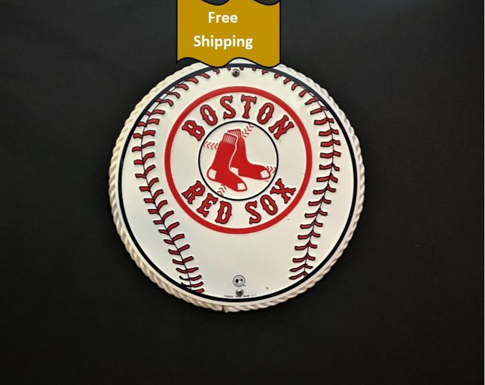 Boston Red Sox Metal Wood Sign