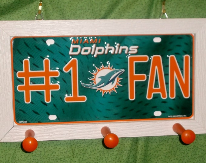 Miami Dolphins #1 Fan License Plate Peg Hanger
