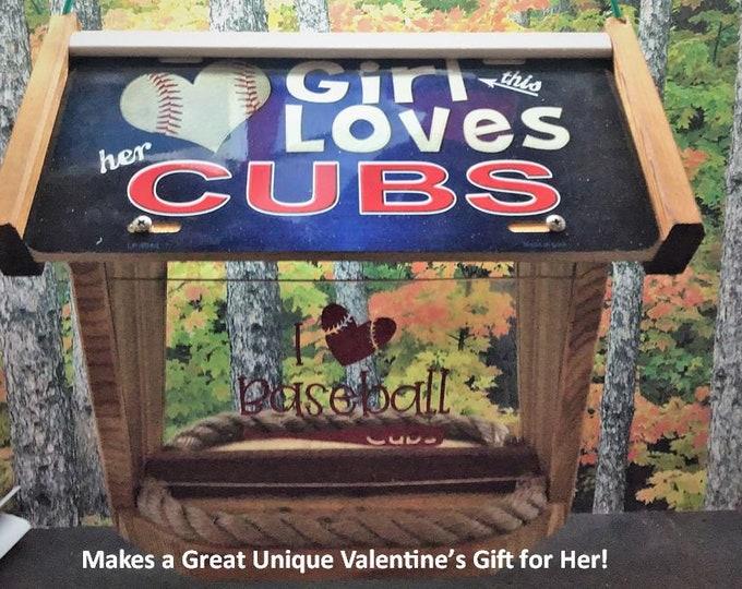 Girl Loves Chicago Cubs Deluxe Cedar Two Sided Bird Feeder