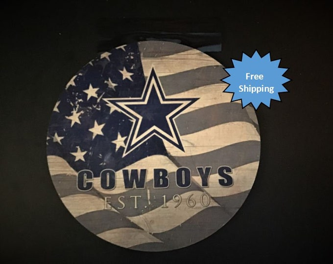 Dallas Cowboys Round Wood Sign
