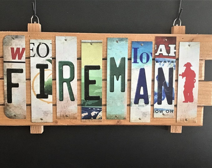 Fireman Cut License Plate Strip Sign