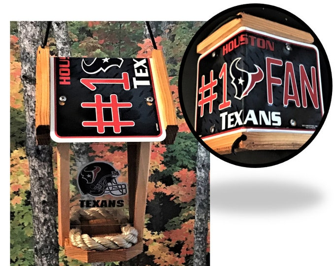 Houston Texans #1 Fan Two-Sided Cedar Bird Feeder