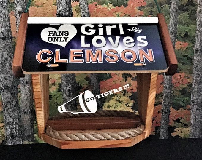 Girl Loves Clemson Deluxe Cedar Two Sided Bird Feeder