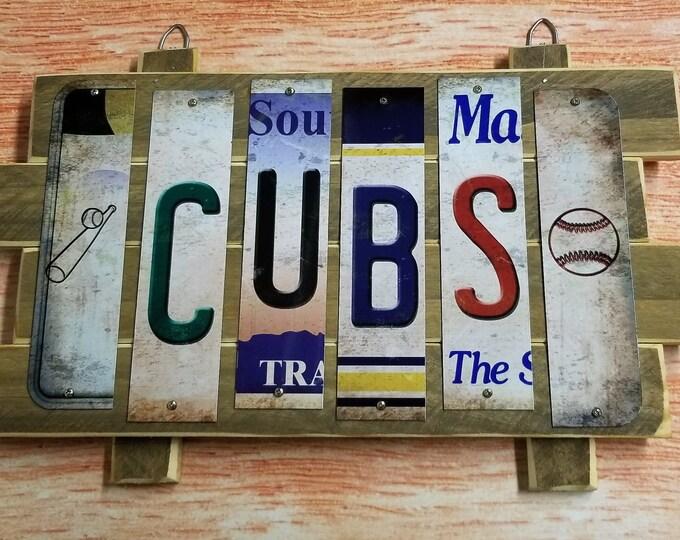 Chicago Cub Cut License Plate Strip Sign