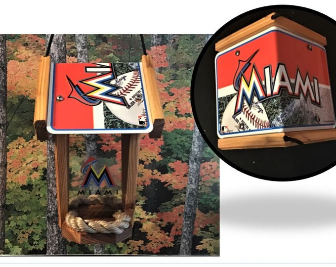 Miami Marlins Two-Sided Cedar Bird Feeder
