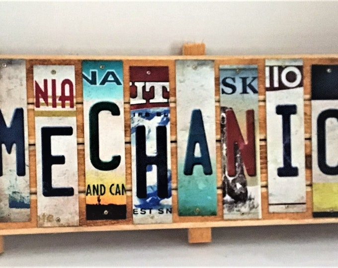 Mechanic Cut License Plate Strip Sign