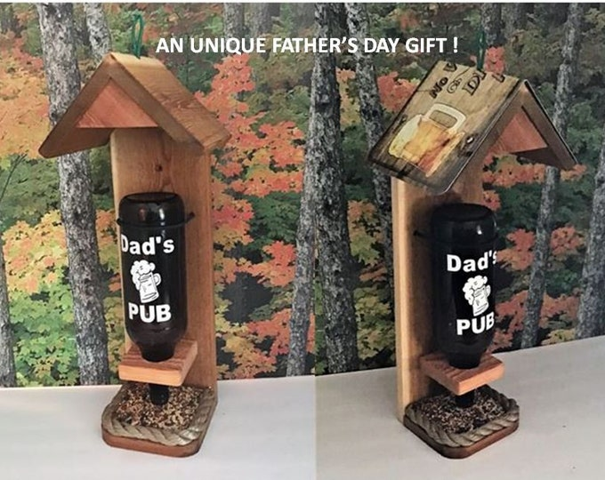 Dad's Beer Bottle Cedar Bird Feeder