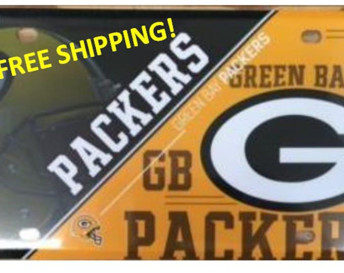 Green Bay Packers Metal License Plate Split Design