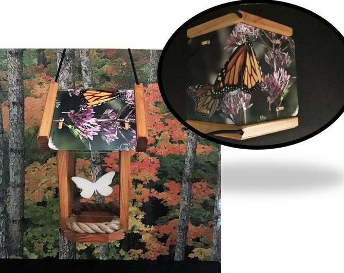 Butterfly two sided cedar bird feeder