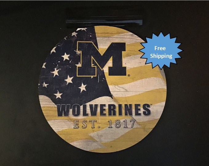Michigan University Wolverines Round Wood Sign