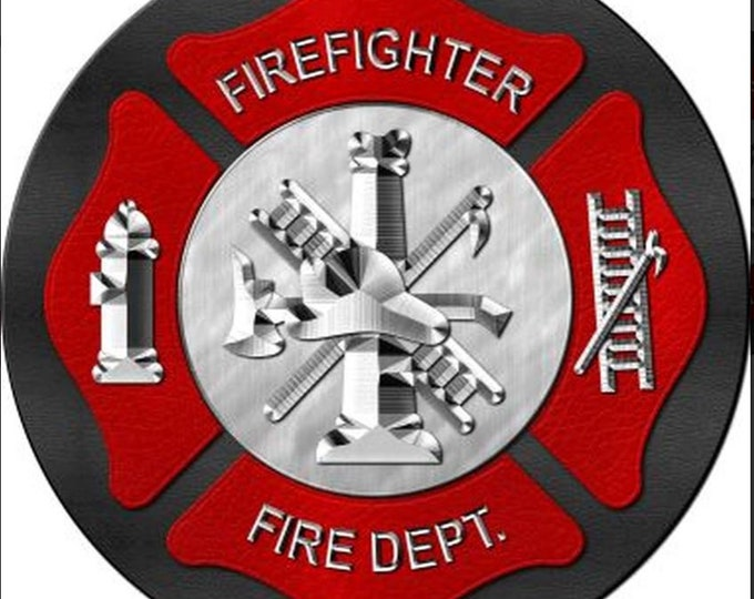 Firefighter round metal sign