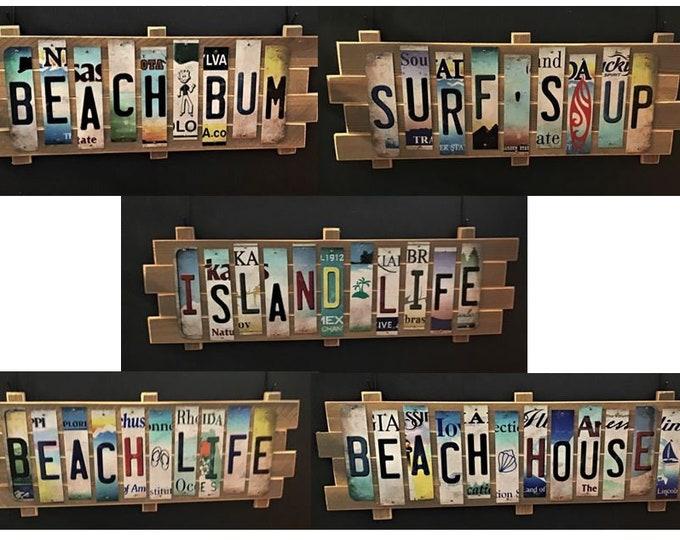 Beach Theme Cut License Plate Strip Signs