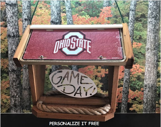 Ohio State Deluxe Cedar Two Sided Bird Feeder