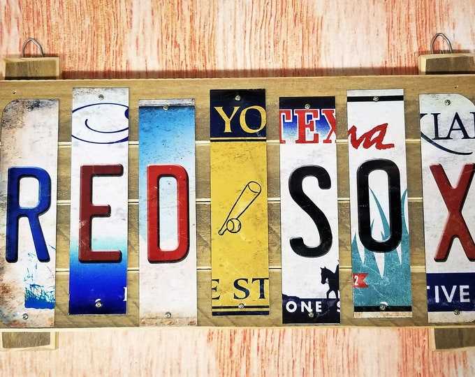 Boston Red Sox Cut License Plate Strip Sign