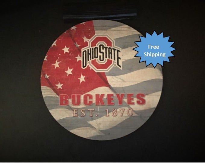 Ohio State Round Wood Sign